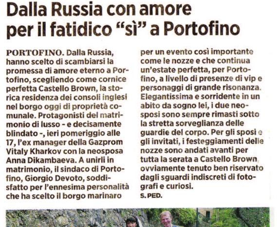 Dalla Russia con amore per il fatidico «si» a Portofino (IL SECOLO XIX)